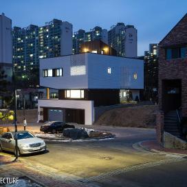 두개의 매스가 조화로운 단독주택 White Stone 단독주택, 화이트하우스, 적삼목, 스타코, 칼라강판,
