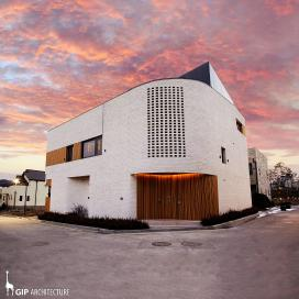 커브 조형미를 살린 단독주택 Warm Curve 단독주택, 화이트벽돌, 적삼목, 세라믹사이딩, 칼라강판, 판교주택
