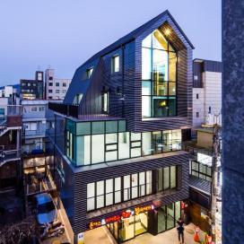박공형 매스가 떠있는 망원동 베스트힐_ 상가 상가, 근린생활시설, 상업건물, 박공, 볼륨, 도시재생