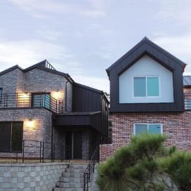 양평 청계리 주택 청담채 단독주택, 양평주택, 벽돌주택, 징크, 마당