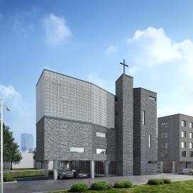삼각형 땅을 극대화한 소형교회(Saesunbok Church) 종교시설, 교회, 소형교회, 큐블럭, 청고벽돌
