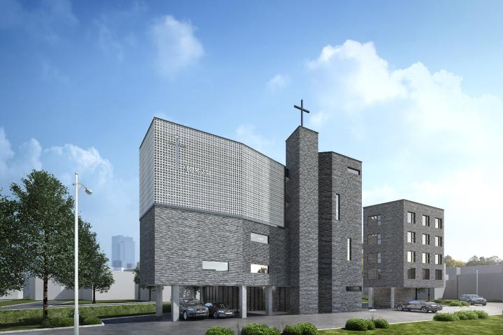 삼각형 땅을 극대화한 소형교회(Saesunbok Church)